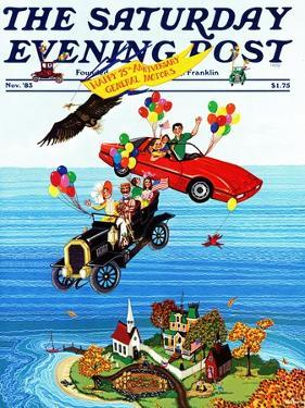 """""""Flying Cars,"""" Saturday Evening Post Cover, November 1, 1983 by Ann Thompson"""