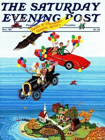 """""""Flying Cars,"""" Saturday Evening Post Cover, November 1, 1983"""