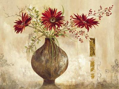 Red Gerberas - Goldfoil by Anna Field