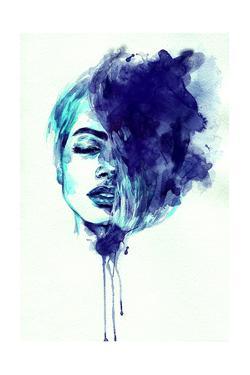 Beautiful Woman Face. Abstract Watercolor. Fashion Illustration by Anna Ismagilova