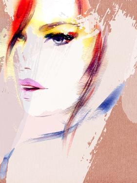 Beautiful Woman Portrait. Abstract Fashion Watercolor Illustration by Anna Ismagilova