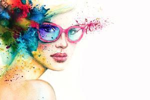 Beautiful Woman with Sunglasses. Abstract Fashion Watercolor Illustration by Anna Ismagilova