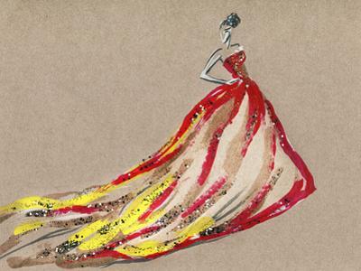 Elegant Dress .Abstract Watercolor by Anna Ismagilova