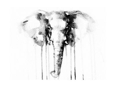 Elephant . Watercolor Illustration by Anna Ismagilova