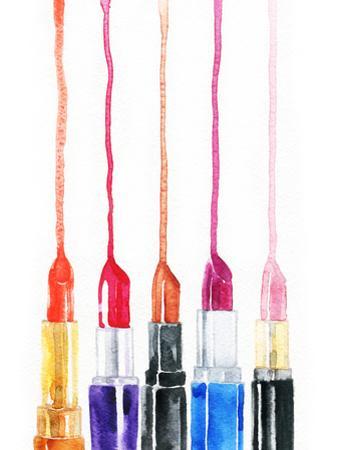 Lipsticks. Fashion Watercolor Background by Anna Ismagilova