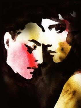 Woman and Man .Abstract Watercolor .Fashion Background by Anna Ismagilova