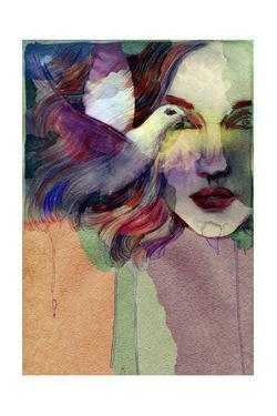 Woman Face and Pigeon. Hand Painted Fashion Illustration by Anna Ismagilova