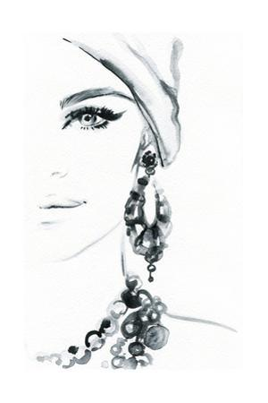 Woman Face. Jewelry and Beauty. Fashion Illustration by Anna Ismagilova