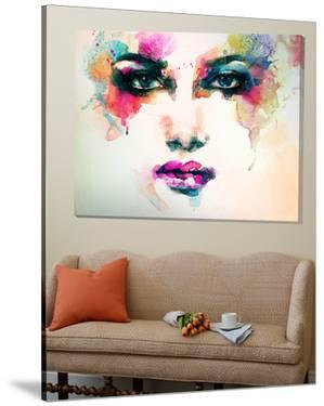 Woman Portrait, Abstract Watercolor, Fashion Background by Anna Ismagilova