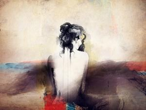 Woman Portrait .Abstract Watercolor .Fashion Background by Anna Ismagilova