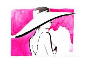 Woman Portrait with Hat .Abstract Watercolor by Anna Ismagilova