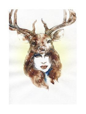 Woman Wearing a Mask. Hand Painted Fashion Illustration by Anna Ismagilova