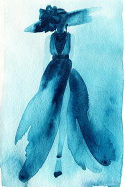 Woman with Elegant Dress .Abstract Watercolor .Fashion Background by Anna Ismagilova