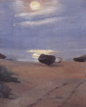 Boats in Moonlight at South Beach by Anna Kirstine Ancher