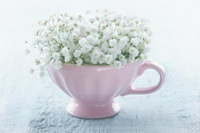 Pink Cup with White Flowers by Anna-Mari West