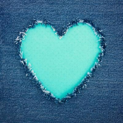 Turquoise Vintage Heart on Blue Denim Fabric by Anna-Mari West