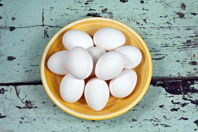 White Eggs on a Yellow Plate by Anna-Mari West