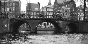 Amsterdam Buildings by Canal with Bridge by Anna Miller