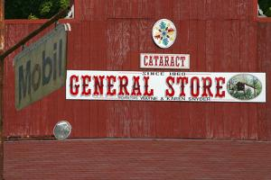 Cataract Falls general store sign, Indiana, USA by Anna Miller
