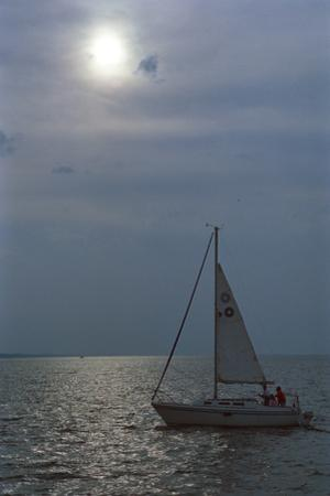 Sailboat on Lake Michigan, Indiana Dunes, Indiana, USA