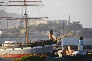 Ship in front of Alcatraz, Fishermans Wharf, San Francisco, California by Anna Miller