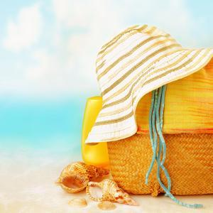 Beach Accessories on the Sand near Sea, Skin Protection, Seashell, Hat, Bag, Day Spa, Tropical Reso by Anna Omelchenko