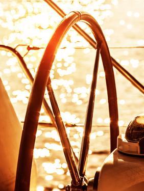 Image of Sailboat Helm on Sunset, Steering Wheel of Yacht, Rudder of Vessel on Sunrise, Sea Transpo by Anna Omelchenko