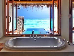 Luxury Beautiful Interior Design on Beach Resort, Window View from Bathroom on Clear Blue Sea, Summ by Anna Omelchenko