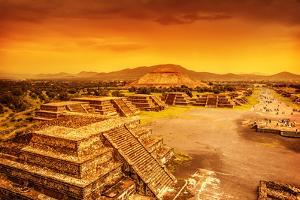 Pyramids of the Sun and Moon on the Avenue of the Dead, Teotihuacan Ancient Historic Cultural City, by Anna Omelchenko