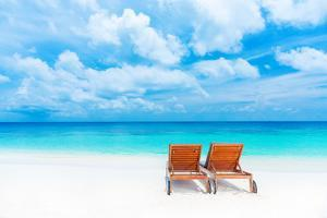 Two Empty Sunbed on the Beach, Beautiful Seascape, Relaxation on Maldives Island, Luxury Summer Vac by Anna Omelchenko