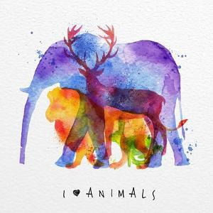 Color Animals ,Elephant, Deer, Lion, Rabbit, Drawing Overprint on Paper Background Lettering I Love by anna42f