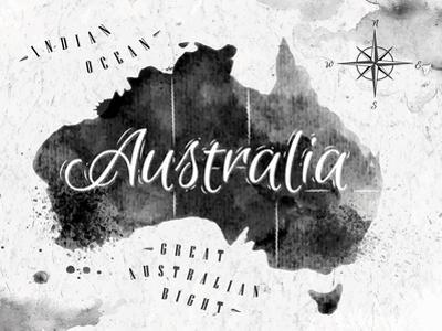 Ink Australia Map by anna42f
