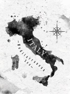 Ink Italy Map by anna42f