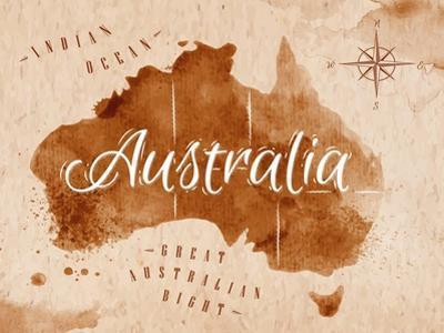Map Australia Retro by anna42f