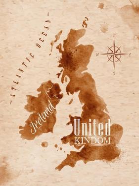 Map United Kingdom and Scotland Retro by anna42f