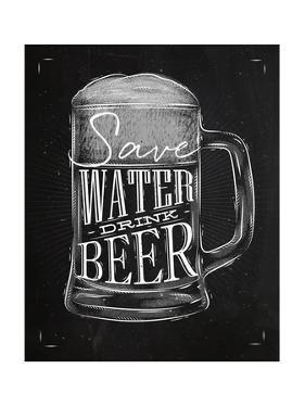 Poster Drink Beer Chalk by anna42f