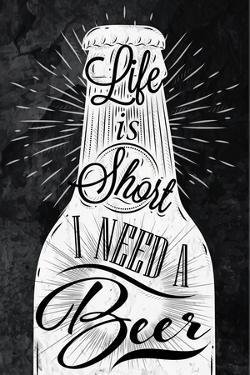 Poster Vintage Beer Chalk by anna42f
