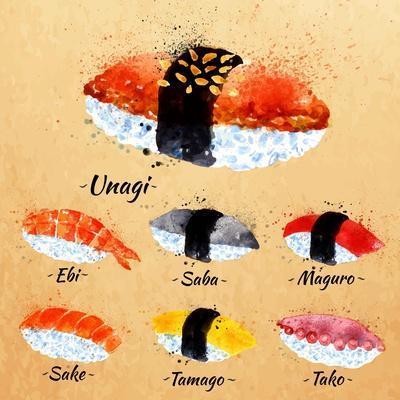 Sushi Watercolor Set Hand Drawn with Stains and Smudges Unagi, Sabe, Maguro, Sake, Tamago, Tako in