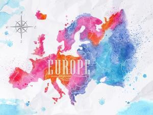 Watercolor Europe Map Pink Blue by anna42f