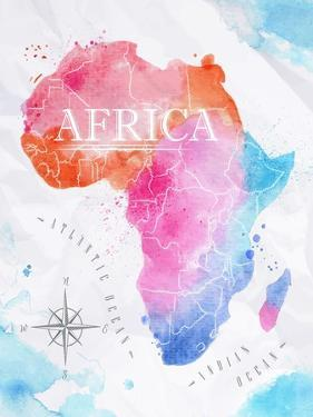 Watercolor Map Africa Pink Blue by anna42f
