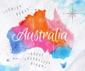 Watercolor Map Australia Pink Blue by anna42f