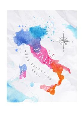 Watercolor Map Italy Pink Blue by anna42f