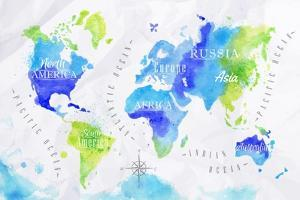 Watercolor World Map Green Blue by anna42f