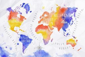 Watercolor World Map Red Purple by anna42f