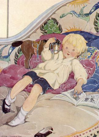 A Boy Lying on a Bed with a Book and a Toy Horse by Anne Anderson