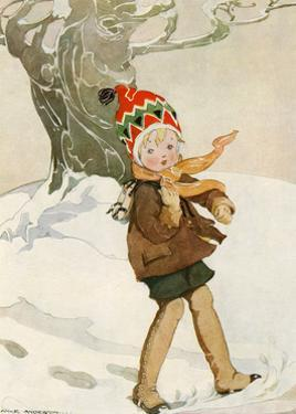 A Boy Walks Through the Snow Carrying Ice Skates by Anne Anderson