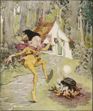He Dances Gleefully Around a Fire Chanting His Name by Anne Anderson