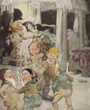 Little Snowdrop (Snow White) Enjoys the Hospitality of the Kindly Dwarfs by Anne Anderson