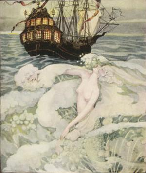 The Little Mermaid Watches a Ship by Anne Anderson