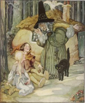 The Witch and Her Cat Find Hansel and Grethel by Anne Anderson